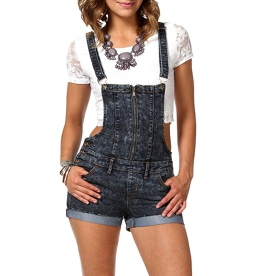 Denim overalls short outfit 61