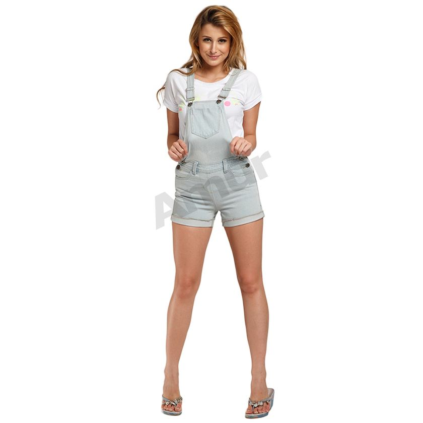 Denim overalls short outfit 68