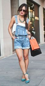 Denim overalls short outfit 74