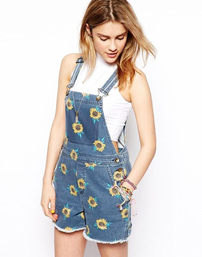 Denim overalls short outfit 75