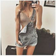 Denim overalls short outfit 80