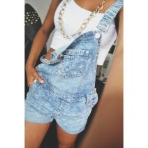 Denim overalls short outfit 81