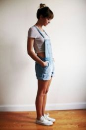 Denim overalls short outfit 86
