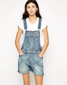 Denim overalls short outfit 88