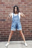 Denim overalls short outfit 9