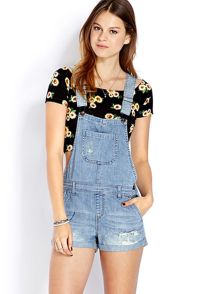 Denim overalls short outfit 90