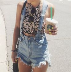 Denim overalls short outfit 92