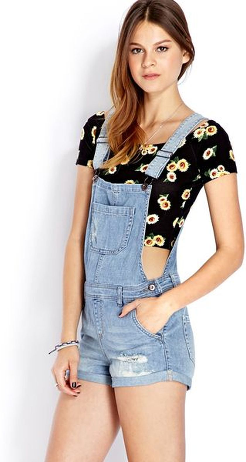 Denim overalls short outfit 99