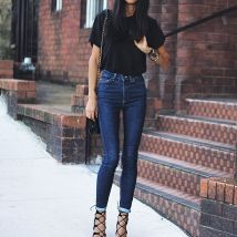 High waisted jeans outfit style 115