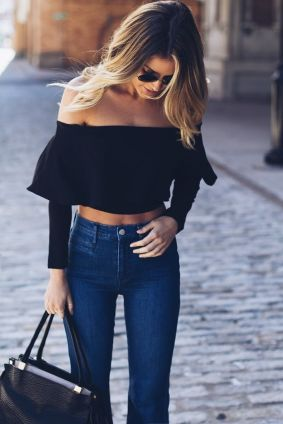 High waisted jeans outfit style 12