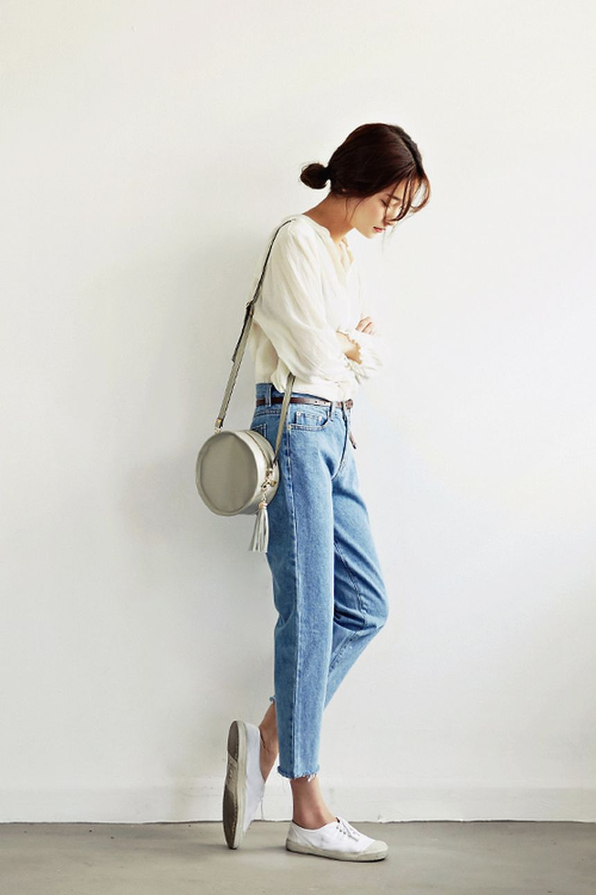 High waisted jeans outfit style 138