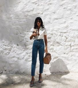 High waisted jeans outfit style 85