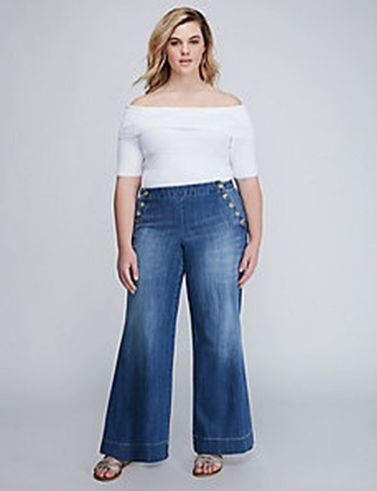 Wide leg denim plus size 40