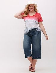 Wide leg denim plus size 45