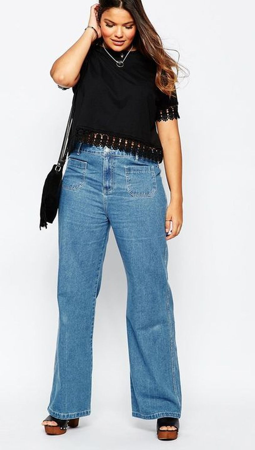 Wide leg denim plus size 7