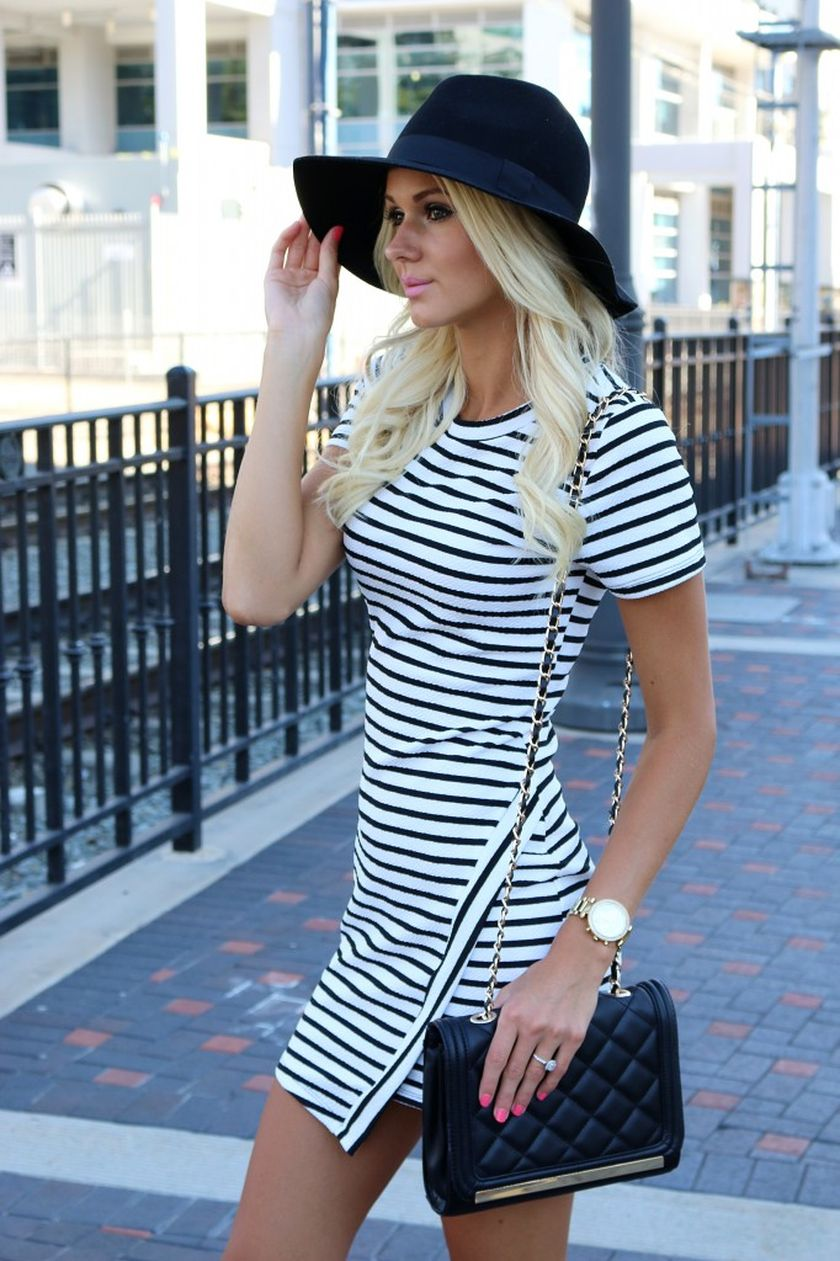 Casual black white striped midi dress outfit 2