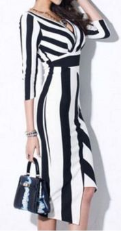 Casual black white striped midi dress outfit 25