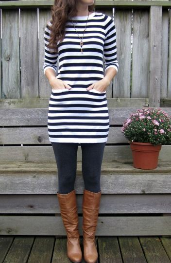 Casual black white striped midi dress outfit 3
