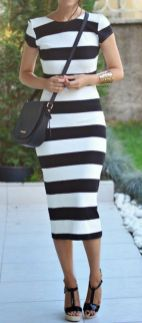 Casual black white striped midi dress outfit 57