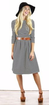 Casual black white striped midi dress outfit 6