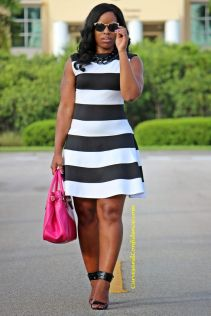 Casual black white striped midi dress outfit 60