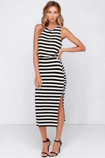 Casual black white striped midi dress outfit 61