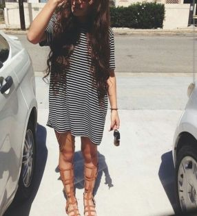 Casual black white striped midi dress outfit 62