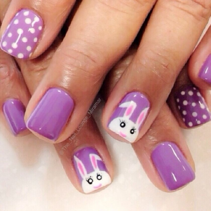 Ehmkay Nails Shy Bunny Easter Nail Art: Cute Nail Art For Kids Girl #
