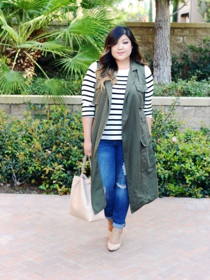 Fabulous plus size striped shirt outfits 1