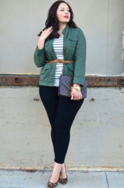 Fabulous plus size striped shirt outfits 31