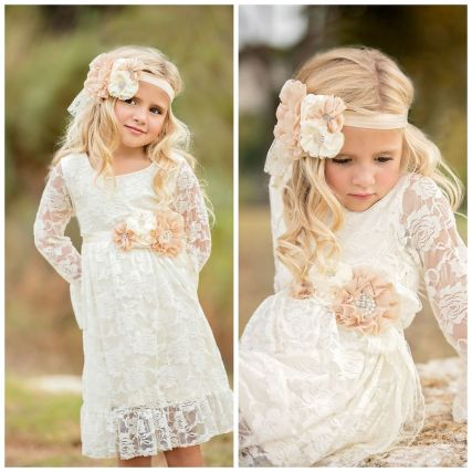 Gorgeous flower girl lace dresses ideas 25