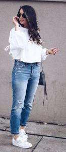 How to wear white sneaker for spring outfits 47