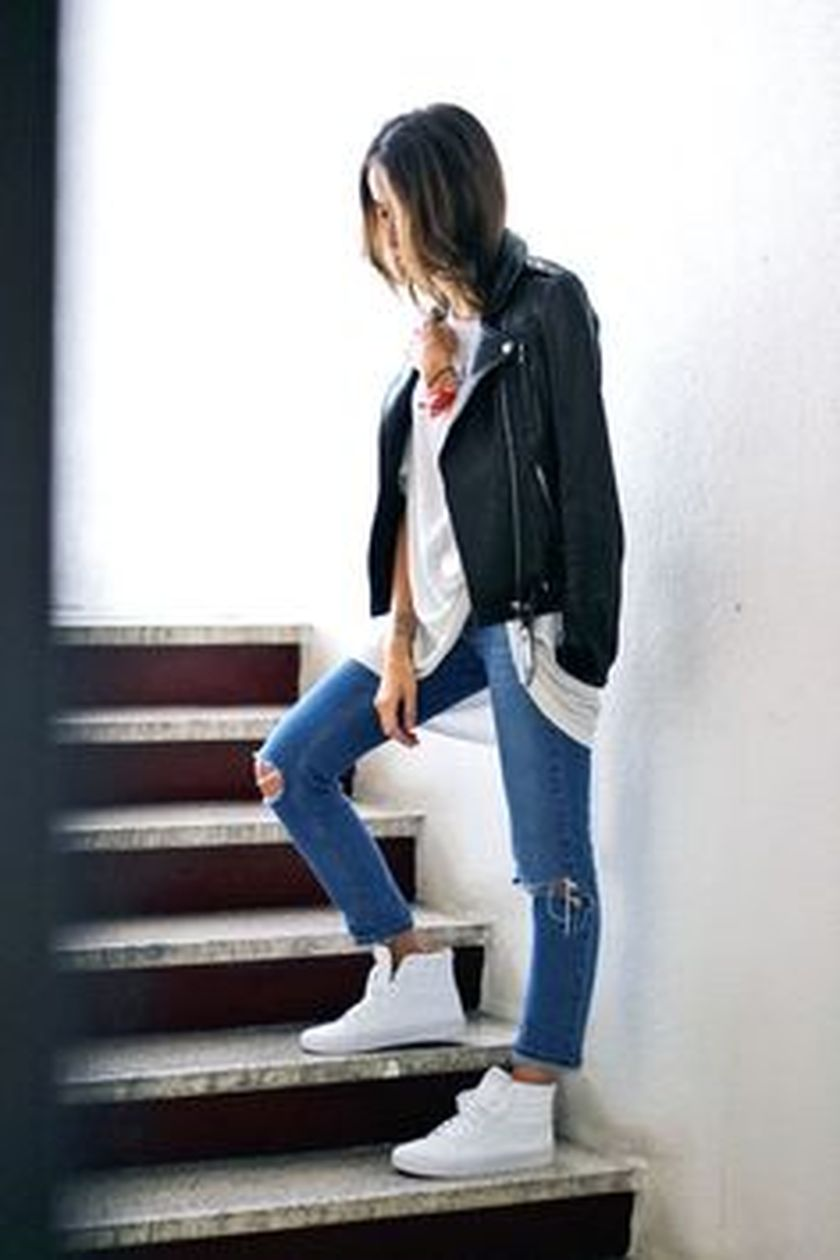 How to wear white sneaker for spring outfits 80