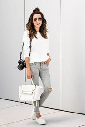 How to wear white sneaker for spring outfits 82