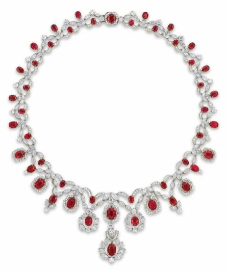 Magnificent burmese ruby and diamond necklace 1