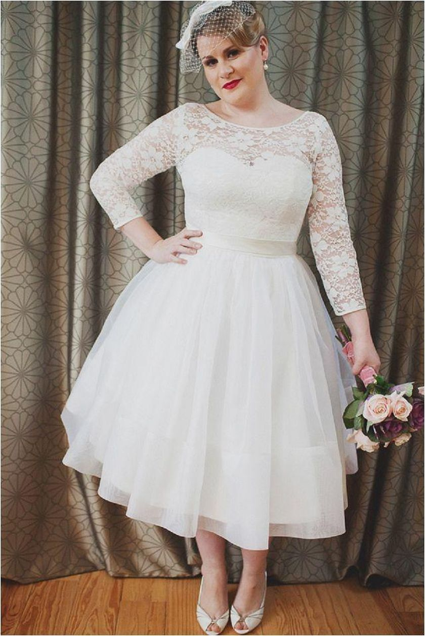 Plus size wedding dresses with sleeves 14