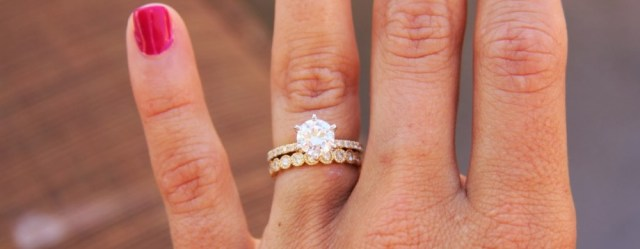 Rose gold solitaire ring for wedding