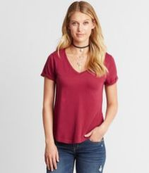 Sexy soft v neck tees women outfit style 19