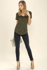 Sexy soft v neck tees women outfit style 20