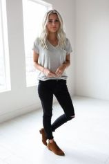 Sexy soft v neck tees women outfit style 24