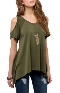 Sexy soft v neck tees women outfit style 41