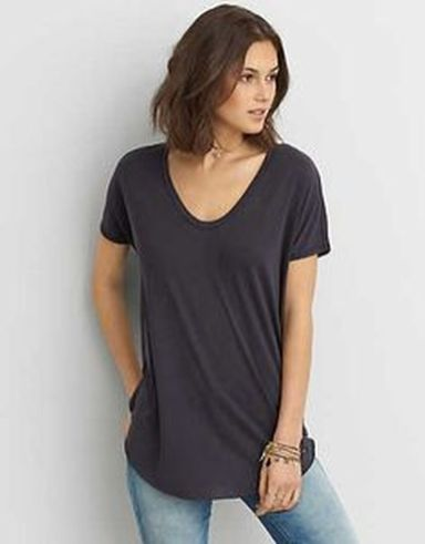Sexy soft v neck tees women outfit style 47