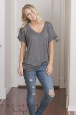 Sexy soft v neck tees women outfit style 49