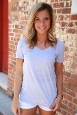 Sexy soft v neck tees women outfit style 51