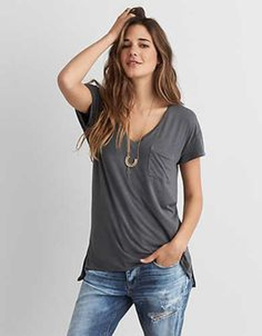 Sexy soft v neck tees women outfit style 60