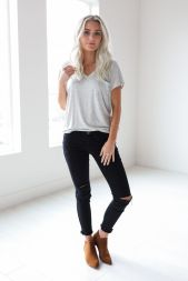 Sexy soft v neck tees women outfit style 61