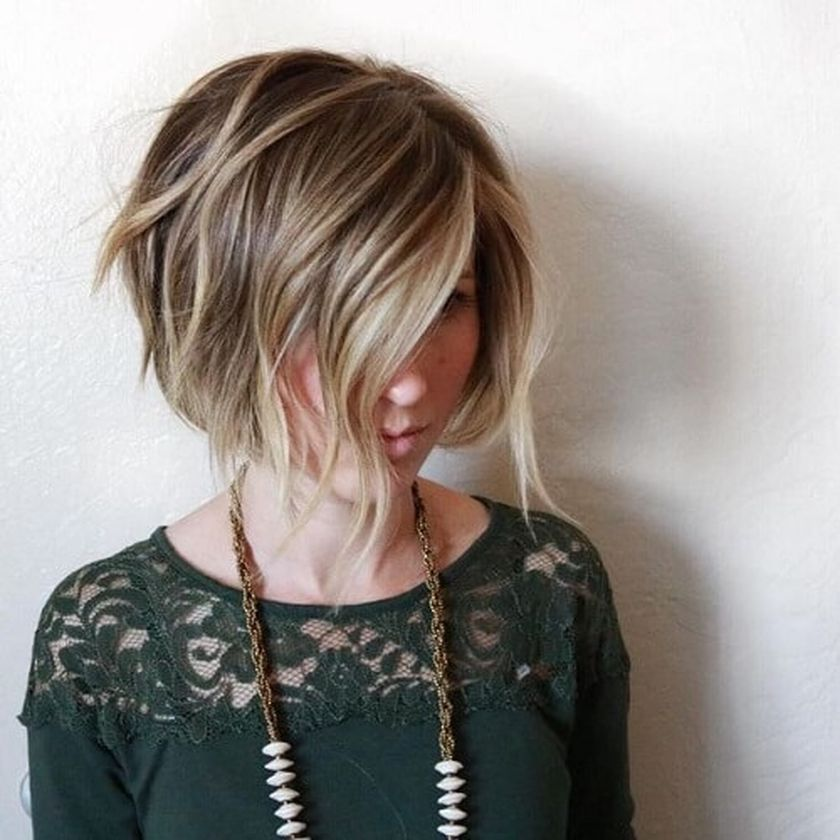Short asymmetrical bobs hairstyle haircut 80