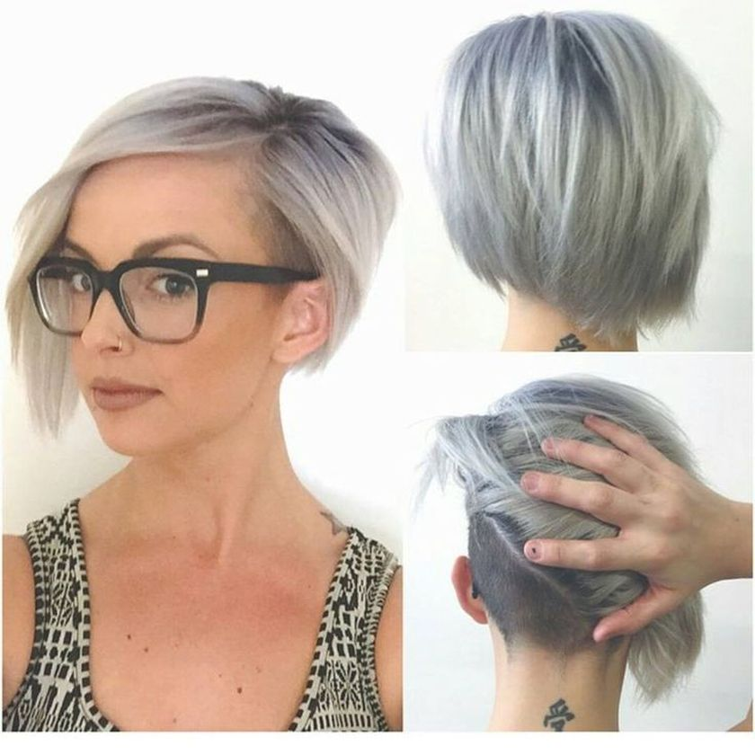 Short hair pixie cut hairstyle with glasses ideas 24