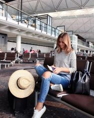 Summer airplane outfits travel style 43