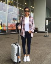 Summer airplane outfits travel style 55